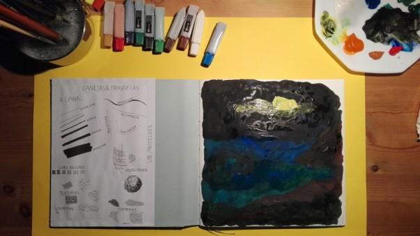 1ª Experiência - Noite marinha com lua cheia inventada